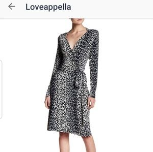 NWT Loveappella Wrap Dress Leopard S